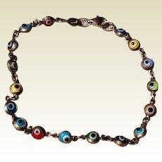 "Evil Eye Sterling Silver Bracelet 7"""