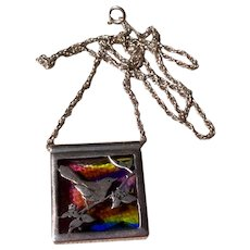 Sterling Dichroic Glass Bird Pendant Necklace