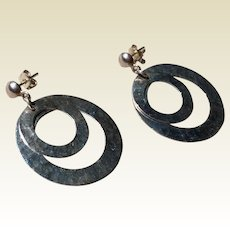 Sterling Double Hoop Dangle Earrings Mexico