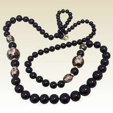 Black Onyx & Cloisonné Beaded Necklace