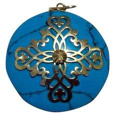 Italian 14K Gold Filigree Turquoise Composite Pendant
