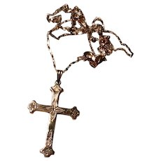 Victorian 14K Gold Cross Pendant Necklace Cathedral
