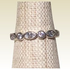 Sterling Silver Rhinestone Eternity Ring Size 8 1/2