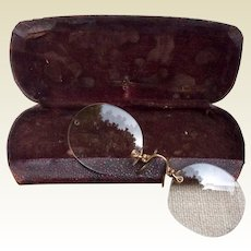 10K Gold Prince Nez Spectacles With Glasses Case