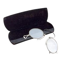 Vintage Silver Tone Metal Fold Up Spectacles & Case