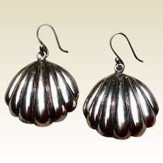 Mexican Sterling Silver Clam Shell Dangle Earrings