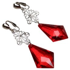 Vintage Silver Tone Metal Plastic Lucite Faceted Dangle Earrings