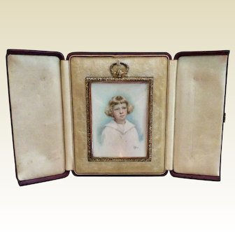 Hand Painted Victorian Miniature In Original Leather Travel Frame Case - Mourning Frame - 1913