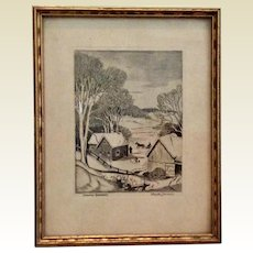 Canadian Home Signed Etching Stanley Turner