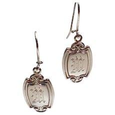 "Sterling Silver Monogrammed ""M"" Cufflink Earrings"