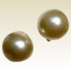 Vintage 15 MM Faux Pearl Clip Earrings