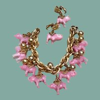 Napier Pink Glass Elephant Charm Bracelet & Earring Demi Parure Set