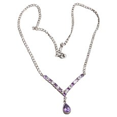 Sterling Silver White Sapphire & Amethyst Necklace