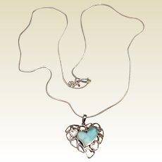 Sterling Silver Opal  & Clear Rhinestone Heart Pendant Necklace