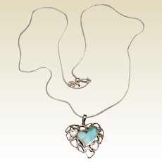 Sterling Silver Opal  & Clear Rhinestone Heart Pendant Necklace