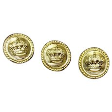Gold Tone Crown Buttons Set Of Three