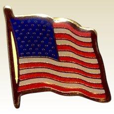 Gold Tone Metal Red White & Blue American Flag Lapel Pin