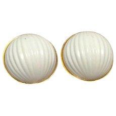 White Gold Metal Monet Clip Earrings