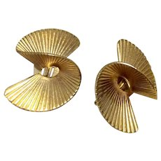 Gold Tone Metal Clip Earrings Signed Ellen Design