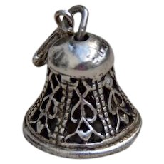 3D Mechanical Sterling Silver Wedding Bell Charm