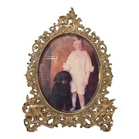 Gold Gilt Cherub Oval Beveled Glass Photo Frame