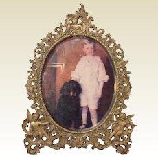 Gold Gilt Cherub Oval Beveled Glass Photo Frame