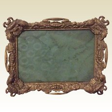 Pressed Tin Ornate Repousse Floral Photo Frame