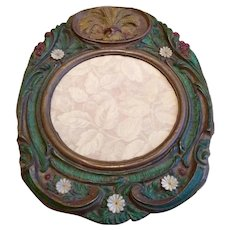 Pressed Tin Sheath Of Wheat Repousse Decorative Mirror Frame