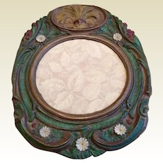 Pressed Tin Sheath Of Wheat Repousse Decorative Mirror Frame