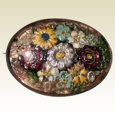 Sterling Reverse Hand Painted Floral Brooch