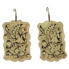 Gold Filled Enameled Cufflink Earrings