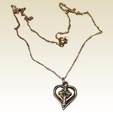 Tru Key Heart Cross Pendant Necklace