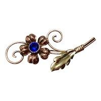 Van Dell Gold Filled Sapphire Blue Rhinestone Floral Brooch