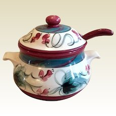 Retired Gail Pittman Red Grapevine Soup Tureen Lid & Ladle