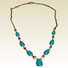 Sterling Silver Faux Turquoise Necklace