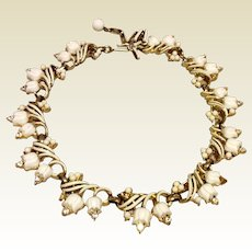 Gold Tone Metal White Lily Of The Valley Necklace With Rhinestones