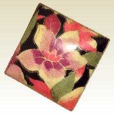 Vintage Gold Tone Metal Floral Brooch Pendant