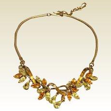Gold Tone Metal Rhinestone Choker Necklace