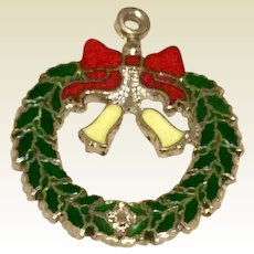 Enameled Sterling Silver Christmas Wreath Charm