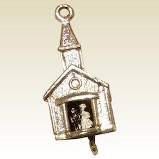 Enameled Church Bride & Groom Charm Sterling Silver