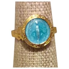 Miraculous Medal Adjustable Ring Gold Tone Metal
