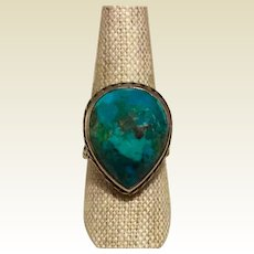 Faceted Azurite Malachite Sterling Ring