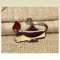 Enameled Aladdin's Lamp Charm Sterling Silver