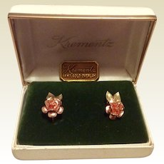 Krementz 14K Gold Overlay Earrings Christmas Rose