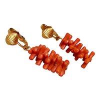 Crown Trifari Faux Coral Earrings