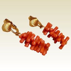 Crown Trifari Faux Coral Earrings