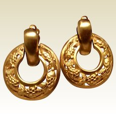 Gold Tone Floral Clip Earrings