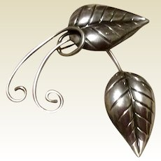 Michele Sterling Silver Leaf Brooch