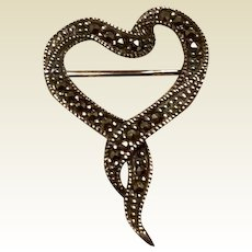 Marcasite Sterling Silver Heart Brooch