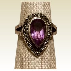 Art Deco Marcasite Amethyst Ring Sterling